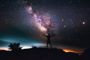 Man Looking Up At Stars, Milky Way and Galaxy